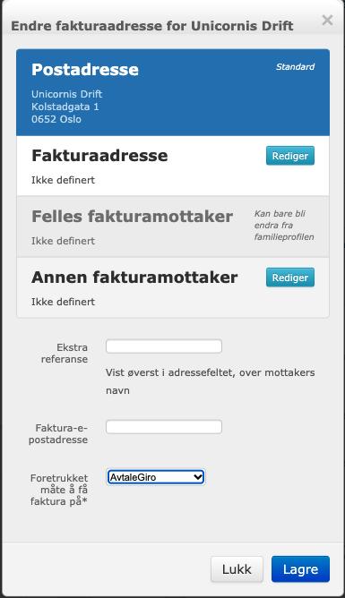 Bildet viser det nye verktøyet for å endre fakturadresse
