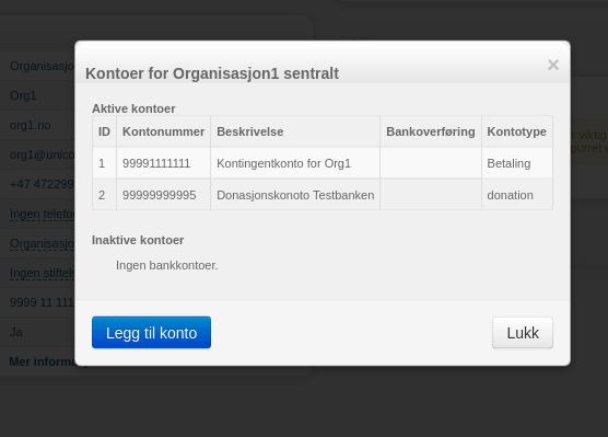 Bildet viser hvordan vinduet kontoer for organisasjon ser ut, med mulighet til å klikke på knappen legg til konto